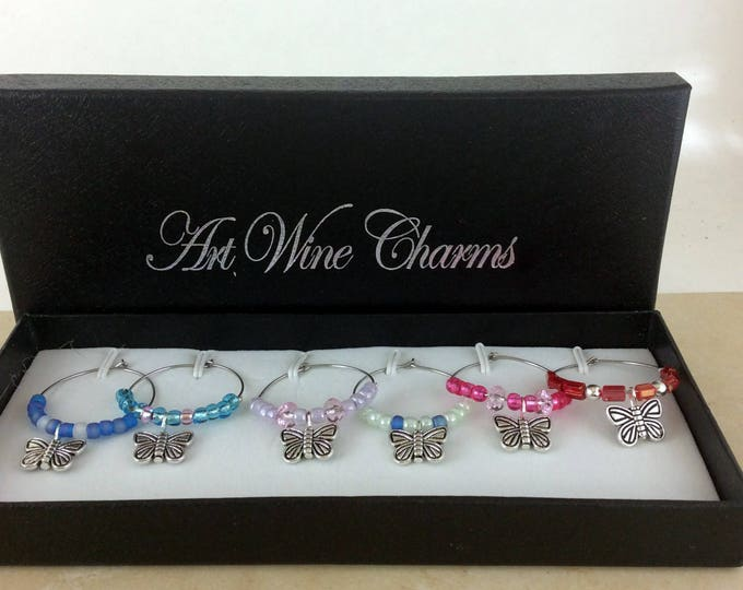 Wine Glass Charms, Butterfly wine charms, Wine Lover Gift, Wine Charms, Wine Gift, Birthday Gift. BFF Gift, Party Favors, Barware, gifts