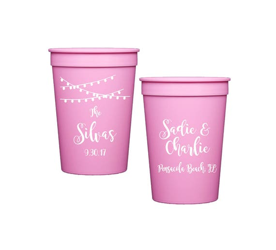 Wedding cups, personalized reception cups, Wedding stadium cups, personalized cups, engagement party cups, wedding shower favor