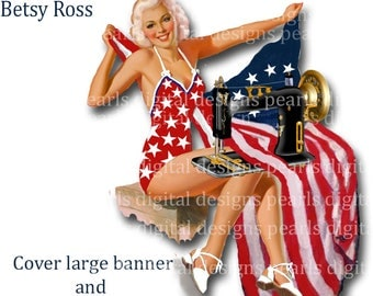 Betsy Ross, Etsy Cover banner and Shop Icon 2 PC,instant download, blank file, white background, American flag, sewing machine, pin up girl