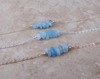 Aquamarine Bar Bracelet, Gold Aquamarine Bracelet, Raw Stone, Beaded Bar, Genuine Aquamarine, Gemstone Bracelet, Sterling Silver, Rose Gold