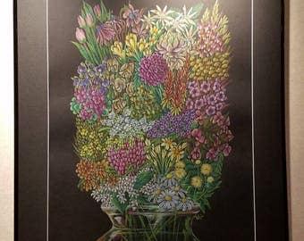 Ability Bouquet (Stronger Together) - Framed 24x30 Colored Pencil Drawing