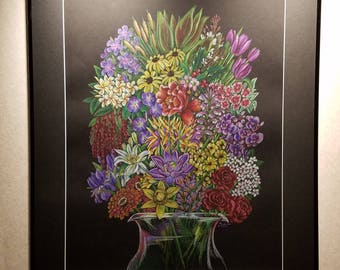 Religion Bouquet (Stronger Together) - Framed 24x30 Colored Pencil Drawing