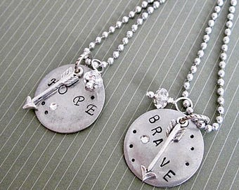"Survivor Pendant, Survivor Necklace, Stamped Pendant, Text Pendant, ""BRAVE"" Text Necklace, Encouragement Text Pendants, ""HOPE"" Text Necklace"
