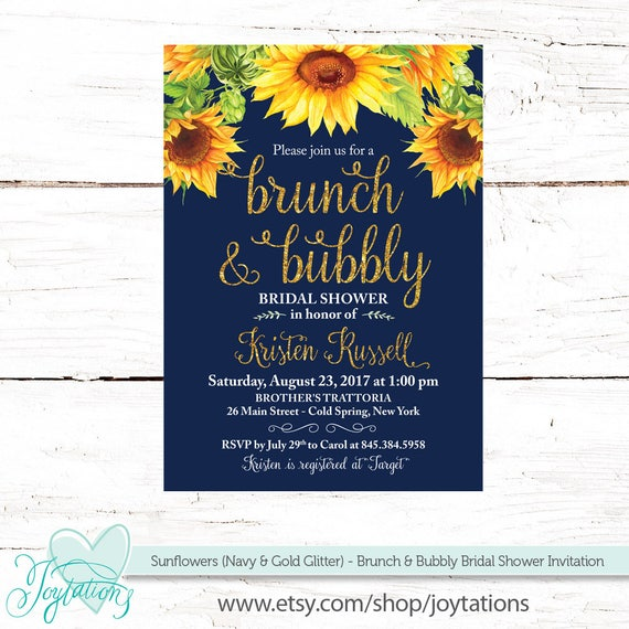 Sunflowers brunch and bubbly bridal shower invitation printable navy il570xn filmwisefo Images