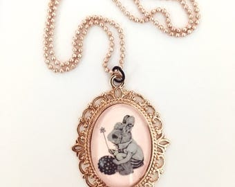 Rose Gold Easter Bunny, Victorian Style Charm necklace, Vintage Cameo Charm, Old Art Print, 1920, Animal Lovers gift, Glass, long necklace