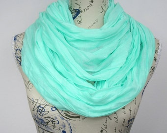 Mint Circle Scarf Solid Color Scarf Wrinkly Scarf Blue Circle Scarf Plain Infinity Scarf Fashion Loop Scarf Christmas Gift for women