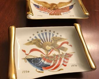American Eagle Vintage Wall hangings, Bicentennial Spirit of 76 wall plaques, Office Decor, Americana, porcelain eagle plaques, gift for him