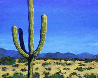 """Original Acrylic Painting Cactus In the West by Michael Kraus 8"""" x 10"""" - home decor cactus cacti interiors desert mountains blue yellow fun"""