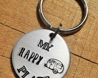 Camper Key Ring - Camping Key Chain - My Happy Place - Happy Camper - Camping Gift - Camping Keyring - Camper Keychain - Gift for Campers