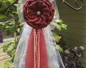 SET OF 6 Burgundy Wine Pew Bows Chair Bows Wine Wedding Bows Pew Arch Church Aisle Decorations. Wine Burgundy wedding Red Aisle decorations