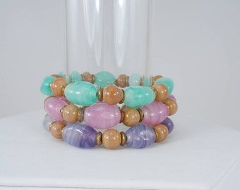 Glass Bead Bracelets, Stretch Bracelets, Bead Bracelets, Set of Three Bracelets, Green, Pink, Purple, One Sixe Fits Most