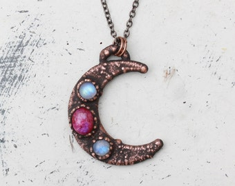 Large Electroformed Pink Moonstone Crescent Moon Phase Necklace Lunar Witchy Witch Pendant in Rustic Copper