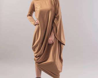 Beige Asymmetrical Tunic/Asymmetrical Dress/Long Sleeve Kaftan/Oversized Dress/Maternity Dress/Fashion Dress/Maxi Dress/ F1779