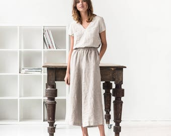 Linen wide leg LYON MAXI pants / Linen culottes / MAXI skirt -  pants available in 34 colors