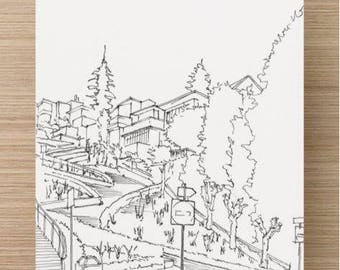 Ink sketch of Lombard Street in San Francisco, California - Art, Drawing, Pen and Ink, 5x7, 8x10, Print, Sketch, Illustration, Drawn There