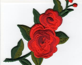 LARGE RED ROSE Left Iron On Applique Motif Patch, Brand New