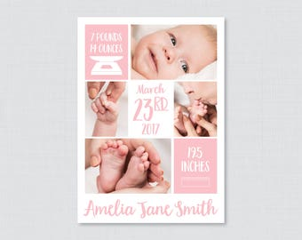 Printable or Printed Pink Photo Birth Announcement Cards - Photo Collage Birth Announcements,  Baby Girl Birth Announcement Cards BA11