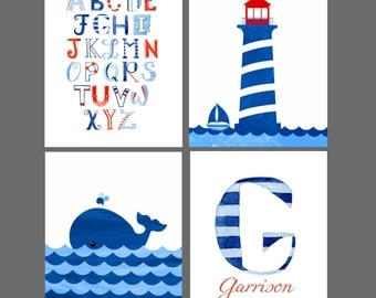 Nautical, Sea, Sailor, Whale, Personalized alphabet printable art nursery decor. Instant Download. Customized art print. Blue and red.