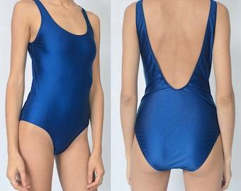 NAVY SWIMSUIT -blue, monokini, one piece, low back, basic, nautical, summer, beach, boho, bodysuit, vintage-