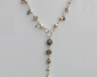Ivory Pearl Long Charm Necklace