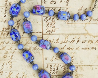 Vintage glass bead necklace -Periwinkle Blue