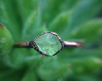 Green Garnet | Garnet Ring | Raw Green Garnet Ring | Copper Ring | Size 5 3/4 | Ready-To-Ship
