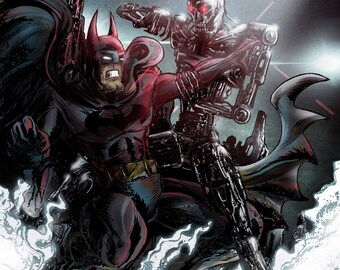 Batman vs. Terminator faux comic cover poster