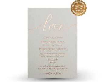 Rose Gold Foil Wedding Invitations Hot Foil Letterpress Invitation Set Gold  Silver Rose Gold Chopper Foil