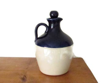 Rustic stoneware jug, vintage pottery, jug with cork stopper, Navy blue jug, rustic kitchenware