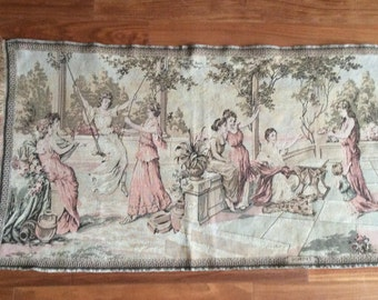 Vintage Pompei Tapestry, Roman Tapestry, Wall Hanging, Tapestry Tablerunner, Tapestry Garden Picture, Pompei Picture, Tapestry Carpet
