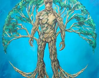 Groot Tree of Life Original Painting // Guardians of the Galaxy Original Art// Tony Rector Art // 12 x 12 Fantasy Art // Marvel Guardian