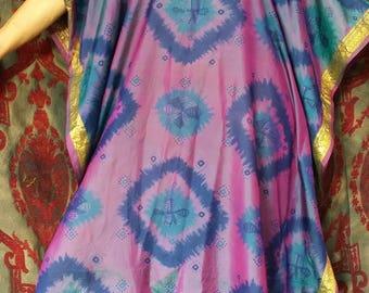 Boho Caftan , tie dye silk caftan, Antique Sari Caftan, HippieWild, boho Beach Cover, silk kaftan, sari dress, plus size coverup
