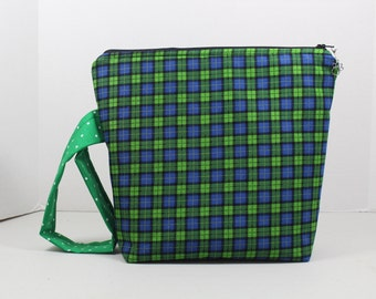 Tartan Plaid Crochet Knitting Project Bag