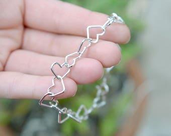 Sterling Silver Heart Link Bracelet, Sterling Heart Bracelet, Silver Heart Bracelet, Heart Jewelry, Sterling Silver Open Heart Link Bracelet