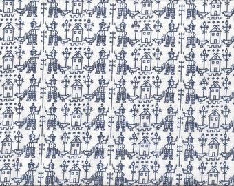 Cotton fabric, village scene, navy blue and white
