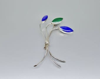 Lapis Lazuli and Malachite leaf brooch with Sterling silver - genuine royal blue and green gemstone - gift idea Christmas-natural stone