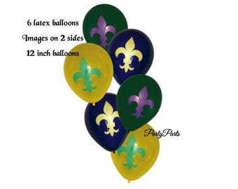 mardi gras balloons, fleur de lis, New Orleans, 6 pack, latex, French Quarter, NOLA, purple, green, yellow, bridal shower, birthday party