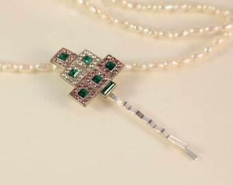 Antique Hair Pin 1920s Art Deco Pin Emerald Hair Comb Headpiece Great Gatsby Wedding Hair Stick Green Pink Hairpiece Crystal Hair Clip