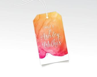 Escort Name Tags & Strings Wedding Escort Card Hang Tags. Watercolor Wedding White Calligraphy . Magenta Pink Gold Sunset Beach Destination
