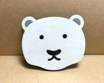Wood Polar Bear Brooch, for  small gifts