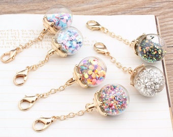 Clear glass ball pendant with a gold lobster clasp | iridescent balls | glass bottle planner charm | pendants | sequins