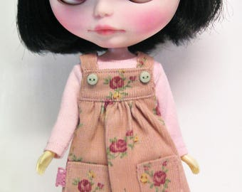 Pink Floral Pinafore Dress and T-shirt top for Neo Blythe Doll.