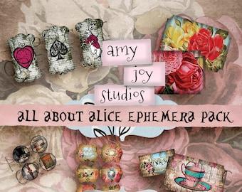 All About Alice Ephemera Pack  Printable Ephemera  Alice in Wonderland  ClipArt  Printable Journal  Tickets  Tags  Tabs  Tea Party  Digital