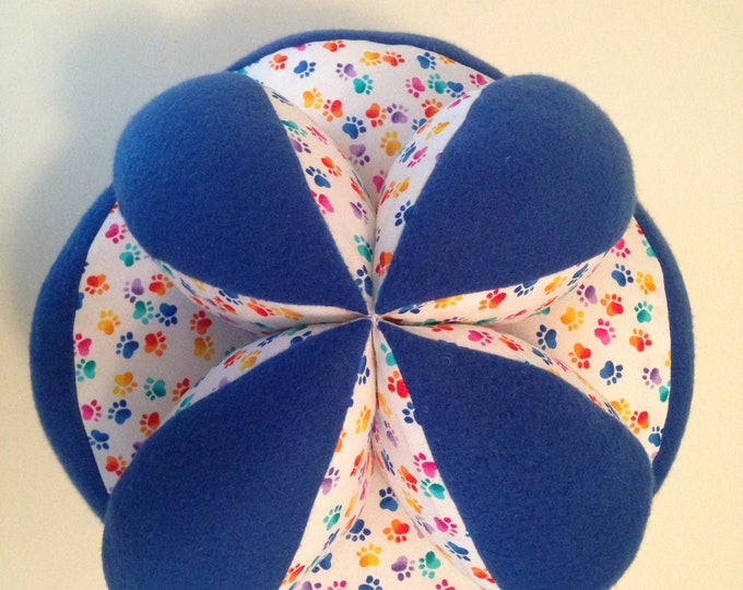 "Large Montessori Puzzle Ball. 12"" Sensory Tactile Comfort Ball. Giant Cuddly Sqeezable Calming Montessori Ball. Geometric Comfort Ball"