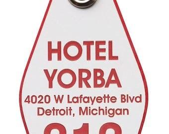 Hotel Yorba Keychain, vintage style motel keychain, hotel key chain. Jack White fan, White Stripes fan gift, Detroit music lover gifts.