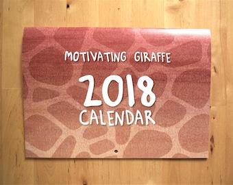 Motivating Giraffe - 2018 A4 8x11 Wall Calendar Saddle Stitched