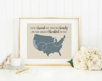 Friendship Personalized Distance Map - Friendship Gift - Long Distance Friendship - Moving Gift - Going Away Gift - Best Friends - Family