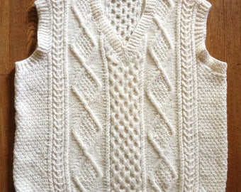 Wool Fisherman Sweater Vest Hand Woven Ireland XL