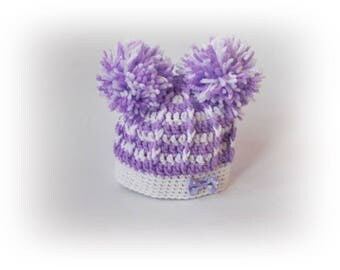 Crochet baby hat, Purple white baby hat, Crochet girl hat, Baby hat, Crochet toddler hat, Newborn hat, baby hat, Newborn baby Photo Prop