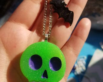 Green Skull Keychain with bat